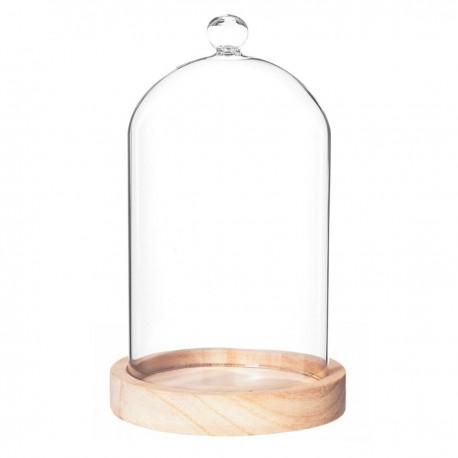 cloche en verre sur socle en bois h19cm beige veo shop. Black Bedroom Furniture Sets. Home Design Ideas