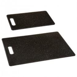 Lot de 2 planches à découper effet pierre - Noir