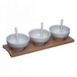 Set apéritif 7 pièces en porcelaine et bambou