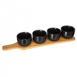 Service apéritif 5 pièces en bois et porcelaine