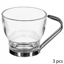 Lot de 3 tasses à café en verre 11cL avec anse en métal - Transparent