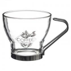 Lot de 3 tasses 11cL avec anse en métal COTÉ CAFÉ - Transparent