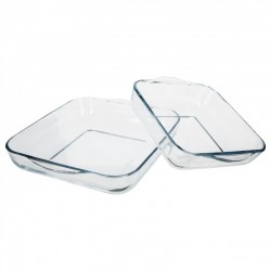 2 Plats à four carré en verre