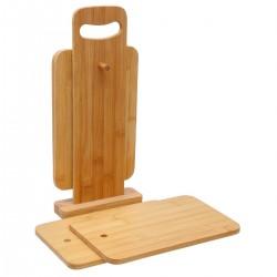 Lot de 4 planches à tapas avec support en bambou - Naturel