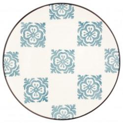 Assiette de dessert à fleurs 22,5cm - Bleu