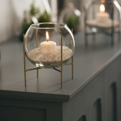 Photophore boule en verre avec bougie et sable D15cm BLUSH LIVING - Doré