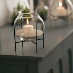 Photophore boule en verre avec bougie et sable D15cm BLUSH LIVING - Noir