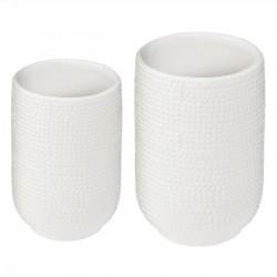 Lot de 2 vases en céramique ÉTÉ INDIEN - Blanc