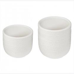 Lot de 2 pots en céramique ÉTÉ INDIEN - Blanc