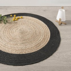 Tapis rond en jute à bordure D120cm COLLECT' MOMENTS - Noir
