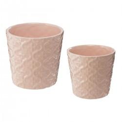 Lot de 2 pots en céramique LA DOLCE VITA - Rose pastel