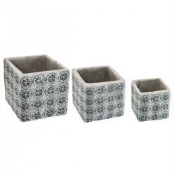 Lot de 3 cache-pots carrés en ciment LA DOLCE VITA - Bleu