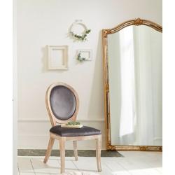 Chaise en bois naturel et velours CLEON, LA DOLCE VITA - Gris foncé