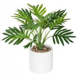 Palmier en pot H29cm ALLURE ETHNIQUE - Blanc