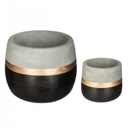 Lot de 2 cache-pots ronds en ciment SPIRITUAL HOME - Noir gris et doré