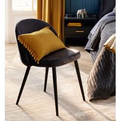 Chaise en velours NAEL, SPIRITUAL HOME - Noir