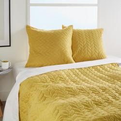 Dessus de lit tressé 240X260cm et 2 taies d'oreiller COLOR BREAK - Ocre