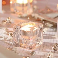 Photophore en verre glaçon H5,5cm FANTASY - Transparent