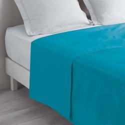 Drap plat 180X290cm (1pers) LINA - Bleu turquoise