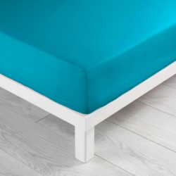 Drap housse en coton 160X200cm LINA - Bleu turquoise