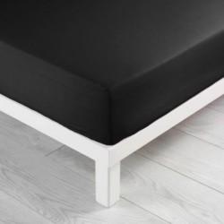 Drap housse en coton 140X190cm LINA - Noir