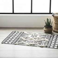 Tapis en coton à motifs losanges en relief 60X90cm DELHI - Noir et crème