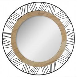 Miroir rond en métal et bois JOE D45 - Noir