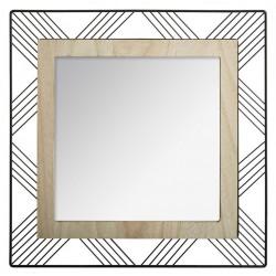 Miroir carré en métal et bois JOE D45 - Noir