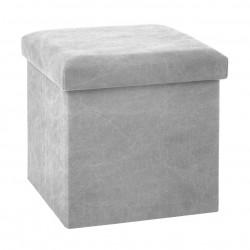 Pouf pliant carré STONE WASH - Gris clair