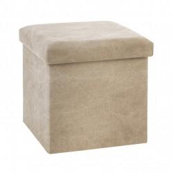 Pouf pliant carré STONE WASH - Beige