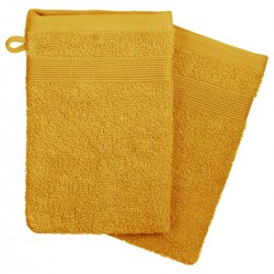 Lot de 2 gants de toilette 450g/m² 21X15cm - Ocre