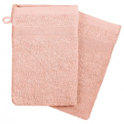 Lot de 2 gants de toilette 450g/m² 21X15cm - Rose