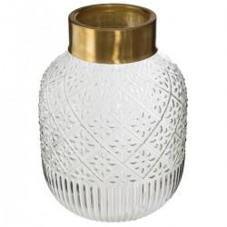 Vase fantaisie en verre et top en métal H23cm - Transparent