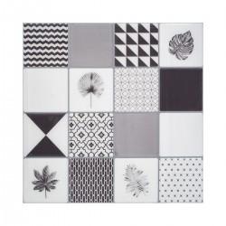 2 Stickers 16 carreaux image noir 25X25cm CARO - Noir et blanc