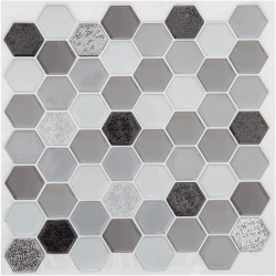 2 Stickers petits hexagones 25X25cm CARO - Gris