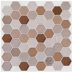 2 Stickers petits hexagones 25X25cm CARO - Brun