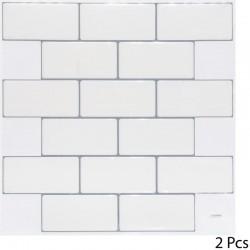 2 Stickers briques 25X25cm CARO - Blanc