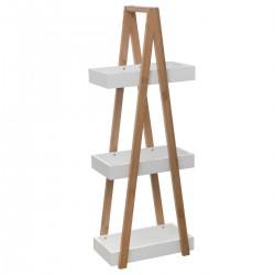 Rangement de salle de bain à 3 niveaux LÉA - Blanc et bois