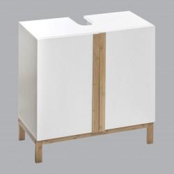 Meuble sous lavabo en bois et en bambou LÉA - Blanc et bois