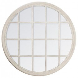 Miroir rond fenêtre D120cm GÉNÉRIQUE - Blanc vieilli