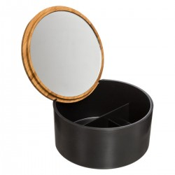 Boîte à couvercle avec miroir intérieur NATURÉO - Noir