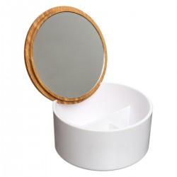 Boîte à couvercle avec miroir intérieur NATURÉO - Blanc