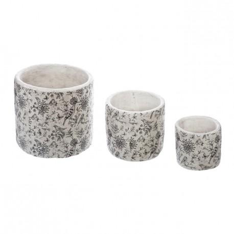 Lot de 3 cache-pots ronds en ciment usé à motifs oiseaux ATELIER D'HIVER - Noir et blanc