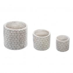 Lot de 3 cache-pots ronds en ciment usé à motifs florales ATELIER D'HIVER - Noir et blanc