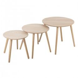 Lot de 3 tables à café rond en bois MILEO - Naturel