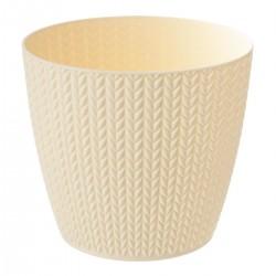 Pot en plastique à motif blé D16cm - Blanc cassé