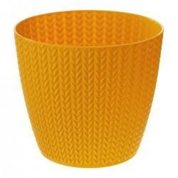 Pot en plastique à motif blé D16cm - Ocre