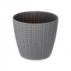 Pot en plastique à motif blé D13cm - Gris foncé