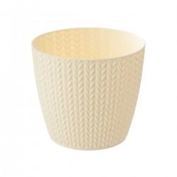 Pot en plastique à motif blé D13cm - Blanc cassé