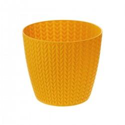 Pot en plastique à motif blé D13cm - Ocre